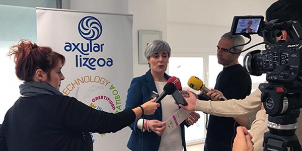 En la fotografía Miren Elgarresta durante la rueda de prensa